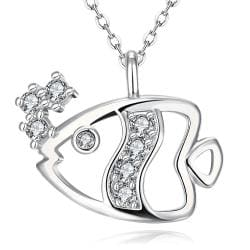 Vienna Jewelry White Gold Plated Fish of the Sea Necklace - Thumbnail 0
