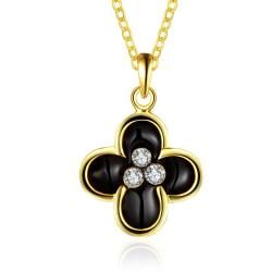 Vienna Jewelry Gold Plated Quad Onyx Clover Necklace - Thumbnail 0