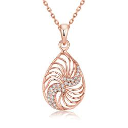 Vienna Jewelry Rose Gold Plated Clockwise Design Necklace - Thumbnail 0