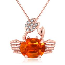 Vienna Jewelry 18K Rose Gold Plated Citrine CrabNecklace - Thumbnail 0