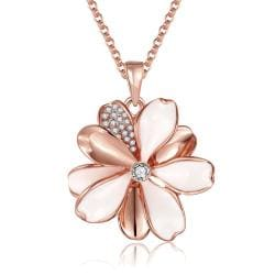 Vienna Jewelry Rose Gold Plated Ivory Clover Petals Necklace - Thumbnail 0