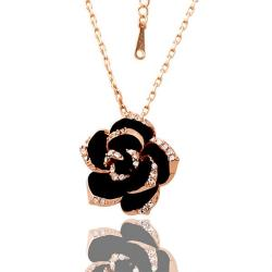 Vienna Jewelry Rose Gold Plated Large Onyx Rose Petal Necklace - Thumbnail 0
