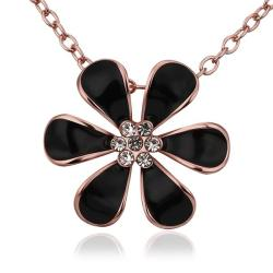 Vienna Jewelry Rose Gold Plated Large Onyx Floral Petal Emblem Necklace - Thumbnail 0