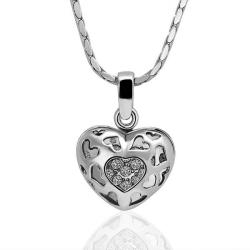 Vienna Jewelry White Gold Plated Laser Cut Petite Heart Necklace - Thumbnail 0