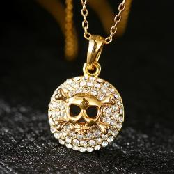 Vienna Jewelry Gold Skull & Bones Emblem Necklace - Thumbnail 0