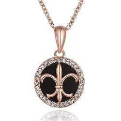 Vienna Jewelry Rose Gold Plated Spiral Saint Emblem Necklace - Thumbnail 0
