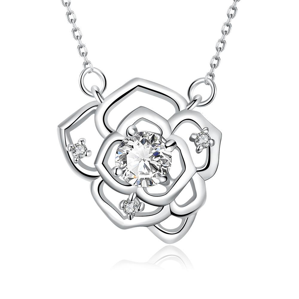 Vienna Jewelry White Gold Plated Floral Emblem Covered with Crystal Necklace