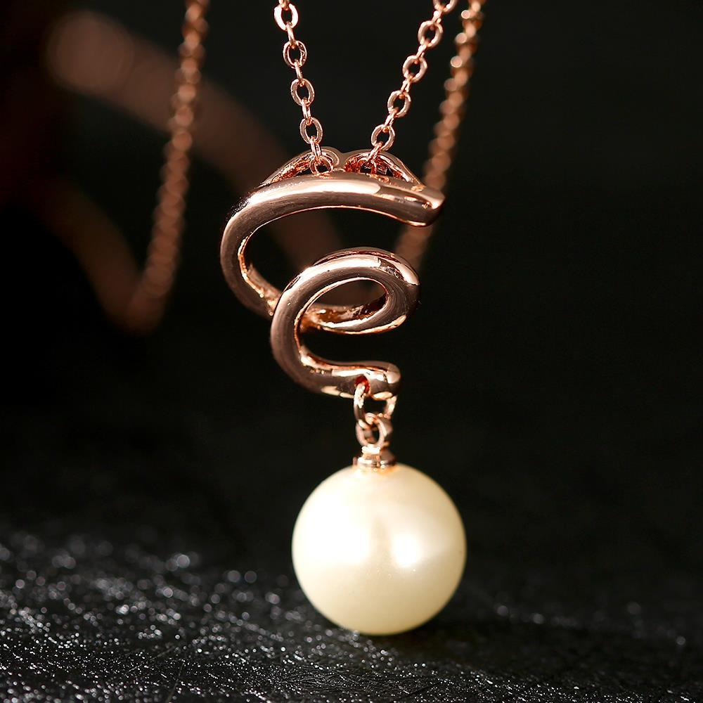 Vienna Jewelry Rose Gold Plated Spiral Pearl Dangling Necklace