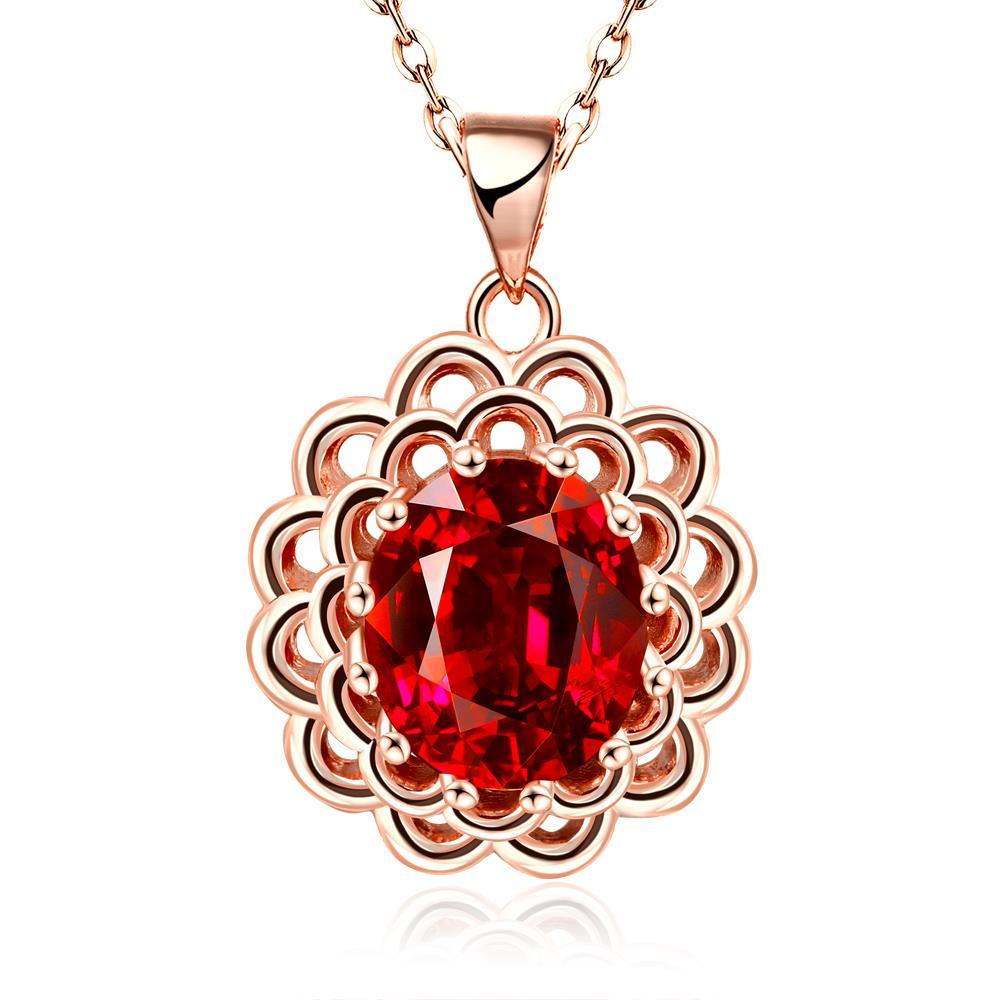 Vienna Jewelry Rose Gold Plated Ruby Gem Spiral Laser Cut Necklace