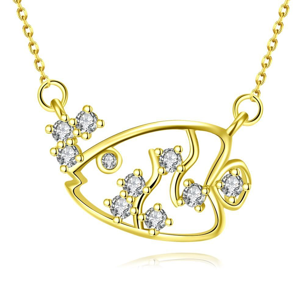 Vienna Jewelry Gold Plated Swimming Salmon Necklace