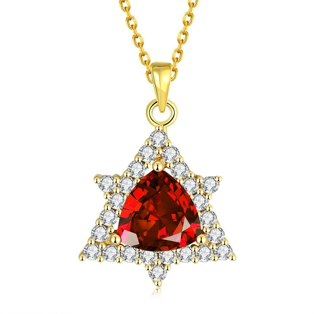 Vienna Jewelry Gold Plated Mini Star Ruby Necklace
