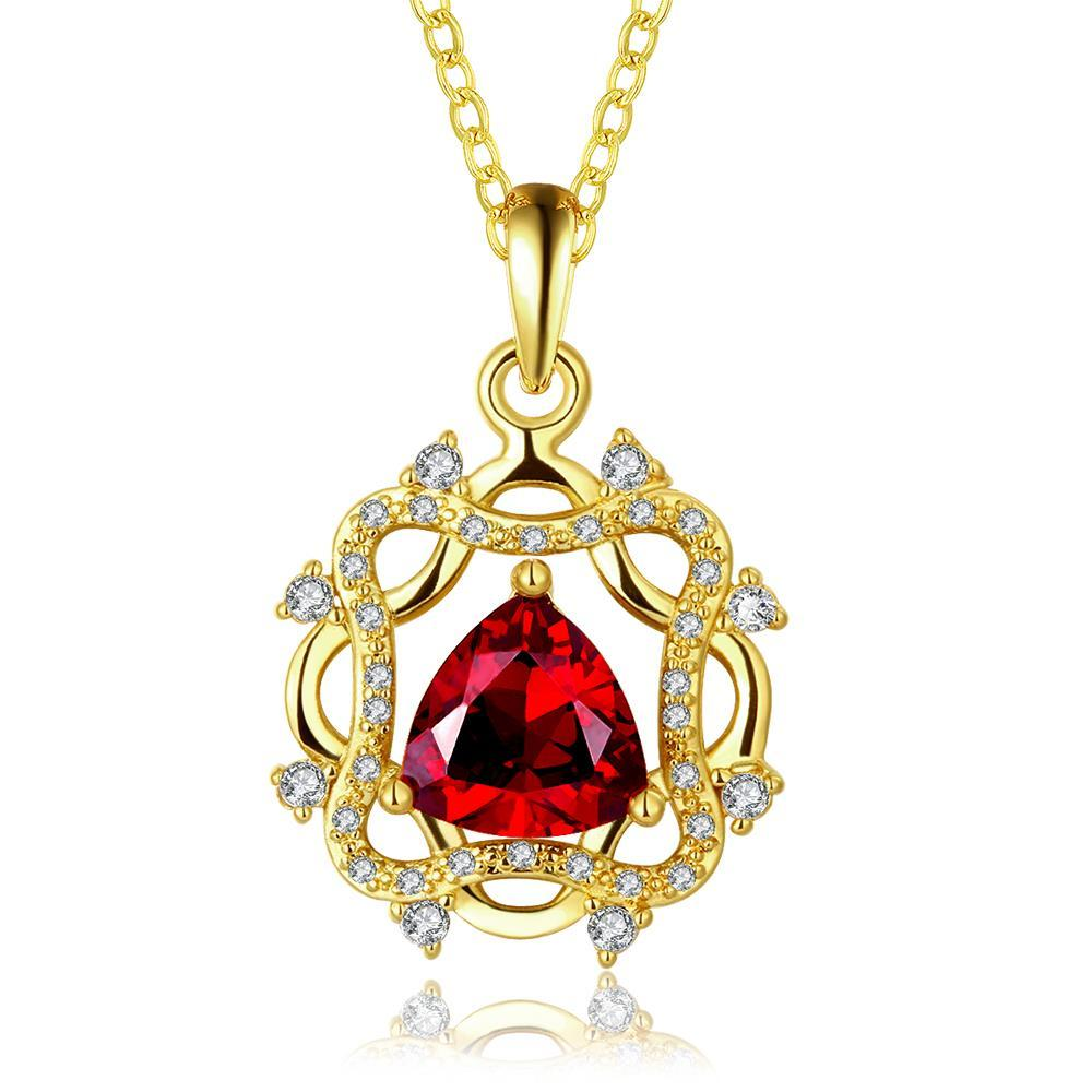 Vienna Jewelry Gold Plated Laser Cut Spiral Ruby Emblem Drop Necklace