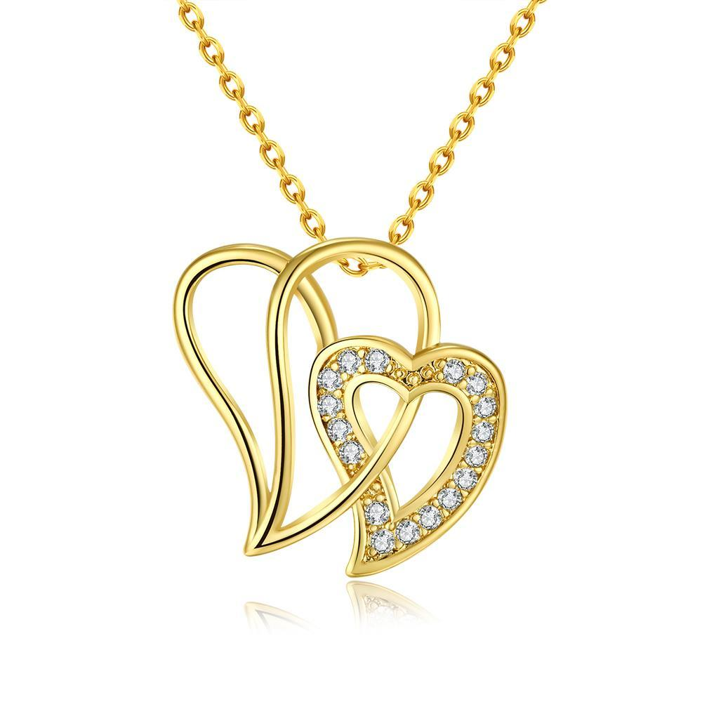 Vienna Jewelry Gold Plated Large Double Love Necklace