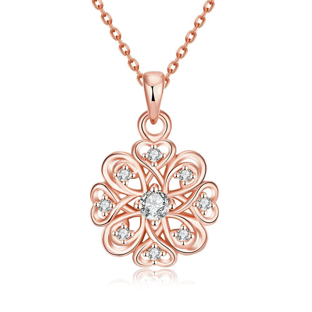 Vienna Jewelry Rose Gold Plated New York Snow Necklace
