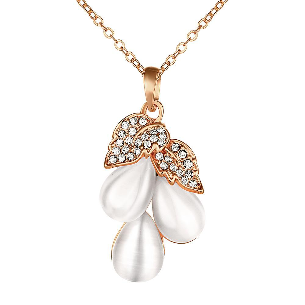 Vienna Jewelry Rose Gold Plated Ivory Drop Orchid Necklace