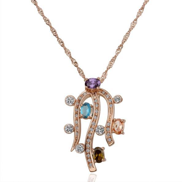 Vienna Jewelry Rose Gold Plated Tropical Jewels Necklace