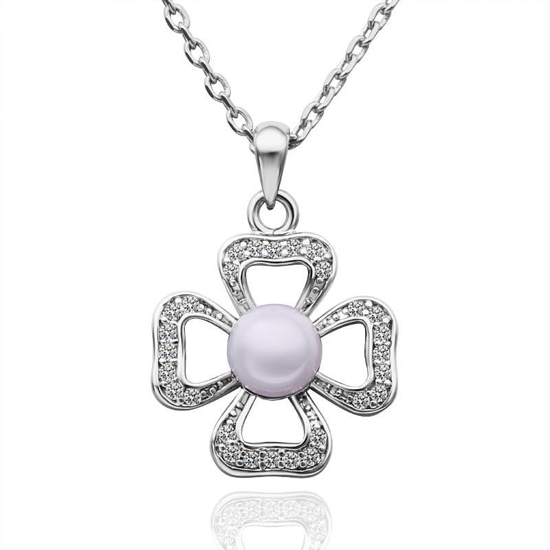 Vienna Jewelry White Gold Plated Laser Cut Clover Shaped with Pearl Insert Necklace