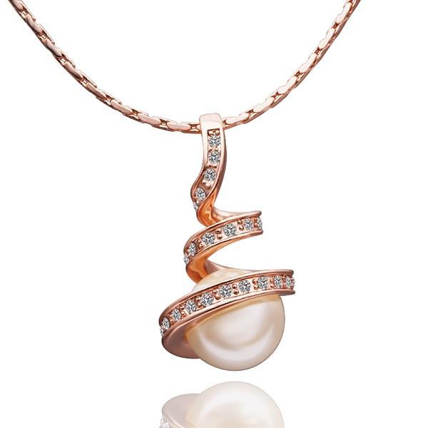 Vienna Jewelry Gold Plated Spiral Pearl Design Necklace