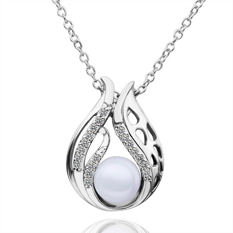 Vienna Jewelry White Gold Plated Blossoming Pearl Necklace
