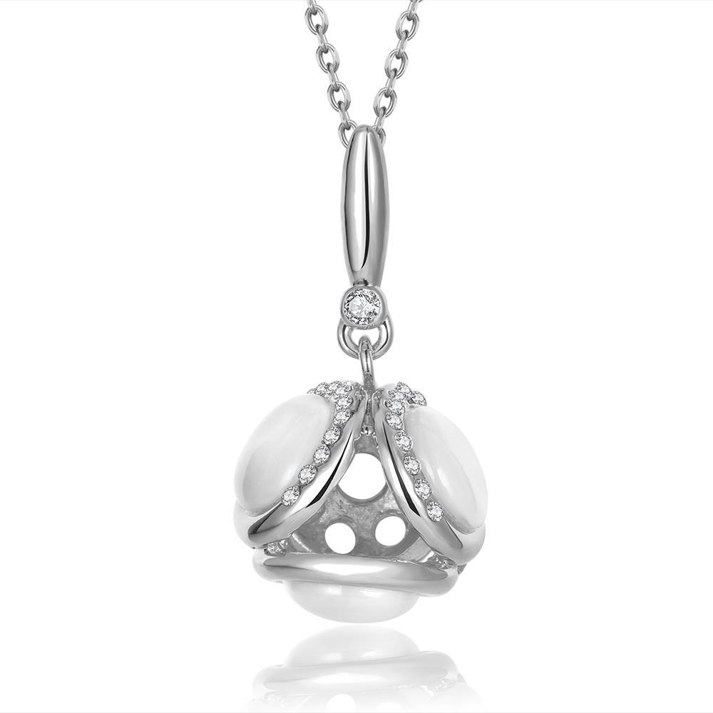 Vienna Jewelry White Gold Plated Duo-Ivory Drop Necklace