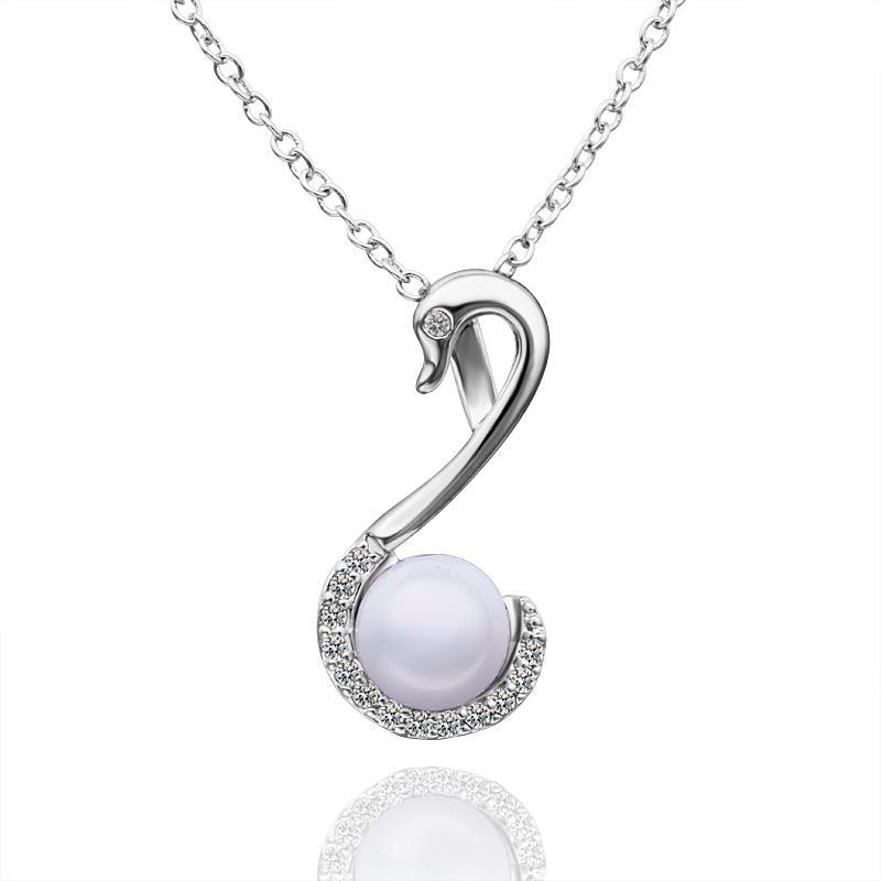 Vienna Jewelry White Gold Plated Pearl Hook Dangling Drop Necklace