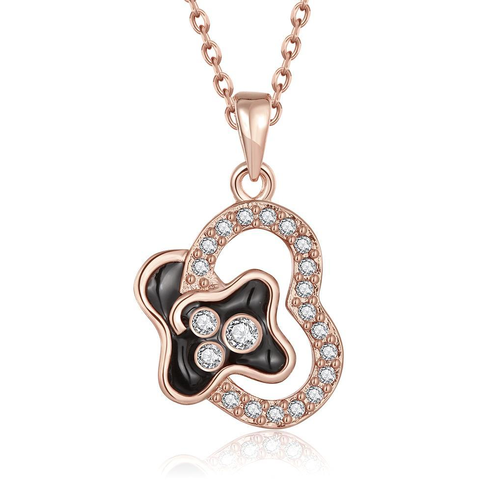 Vienna Jewelry Rose Gold Plated Curved Onyx Heart Necklace - Thumbnail 0