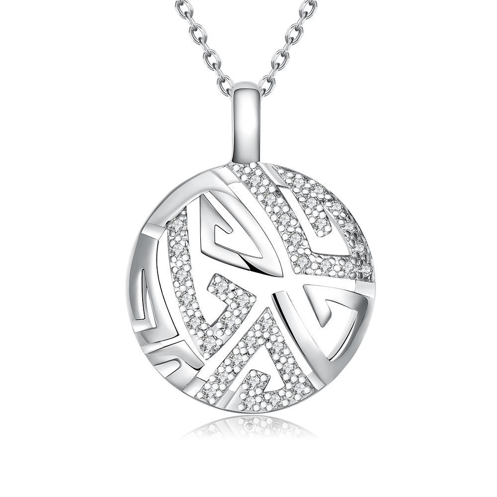 Vienna Jewelry White Gold Plated Oriental Emblem Necklace