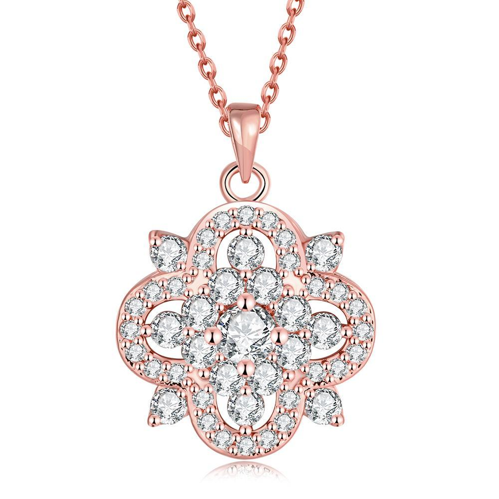 Vienna Jewelry Rose Gold Plated Spade of Crystals Necklace