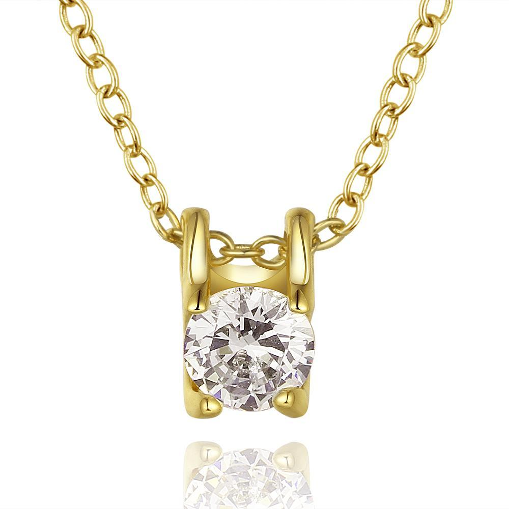 Vienna Jewelry Gold Plated Petite Crystal Emblem Necklace