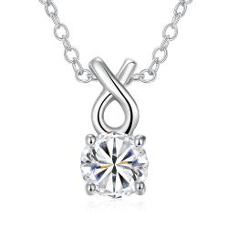 Vienna Jewelry White Gold Plated Classic Tiffany's Diamond Necklace - Thumbnail 0