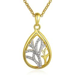 Vienna Jewelry Gold Plated Floral Orchid Pendant Necklace - Thumbnail 0