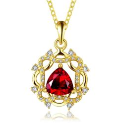 Vienna Jewelry Gold Plated Laser Cut Spiral Ruby Emblem Drop Necklace - Thumbnail 0