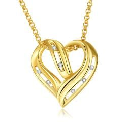 Vienna Jewelry Gold Plated Laser Cut Heart Necklace - Thumbnail 0