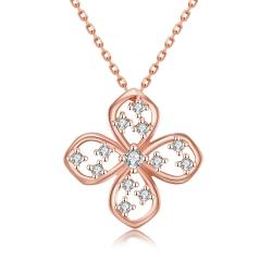 Vienna Jewelry Rose Gold Plated Four-Sided Clover Necklace - Thumbnail 0