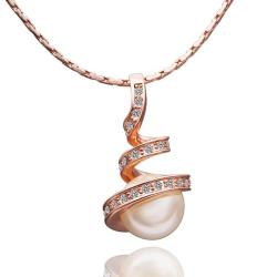 Vienna Jewelry Gold Plated Spiral Pearl Design Necklace - Thumbnail 0