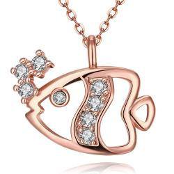 Vienna Jewelry Rose Gold Plated Fish of the Sea Necklace - Thumbnail 0
