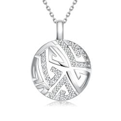 Vienna Jewelry White Gold Plated Oriental Emblem Necklace - Thumbnail 0