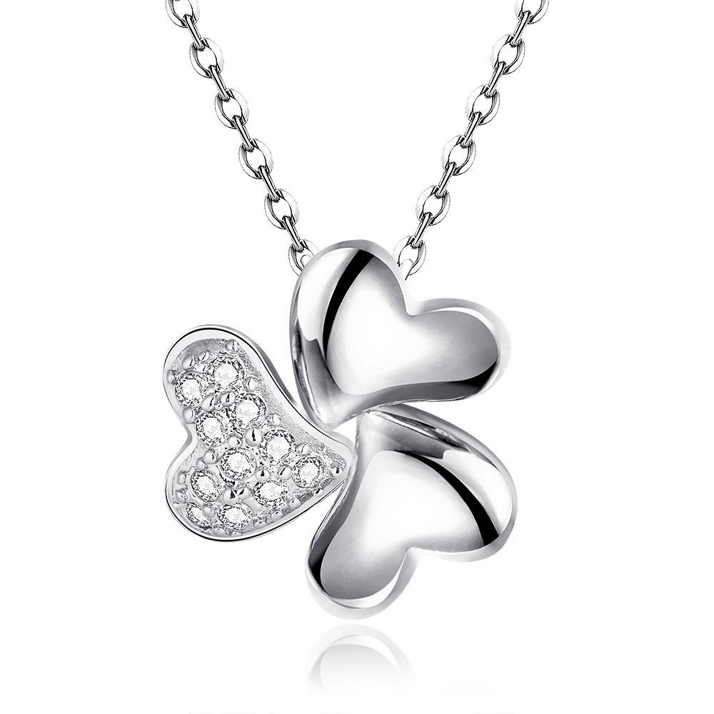Vienna Jewelry White Gold Plated Petite Trio-Clover Necklace