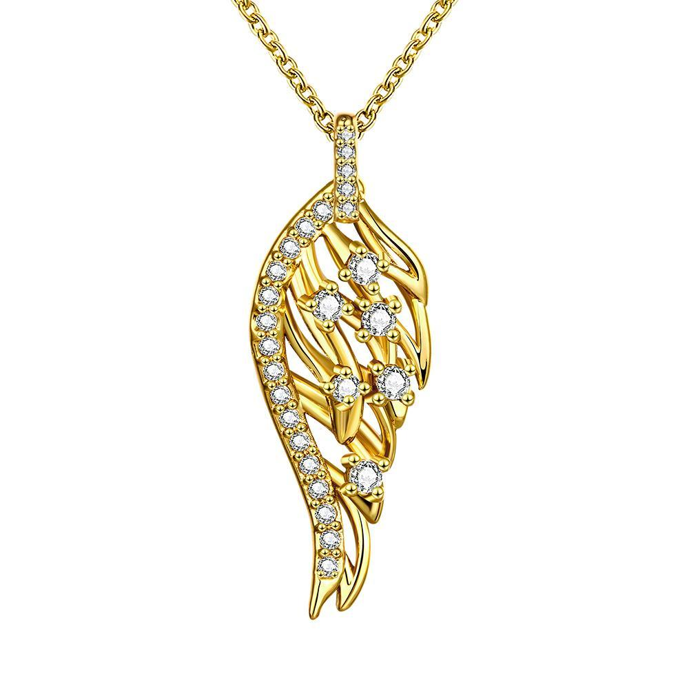 Vienna Jewelry Gold Plated Abstract Emblem Necklace