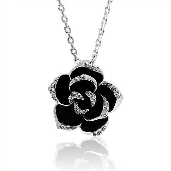 Vienna Jewelry White Gold Plated Large Onyx Rose Petal Necklace