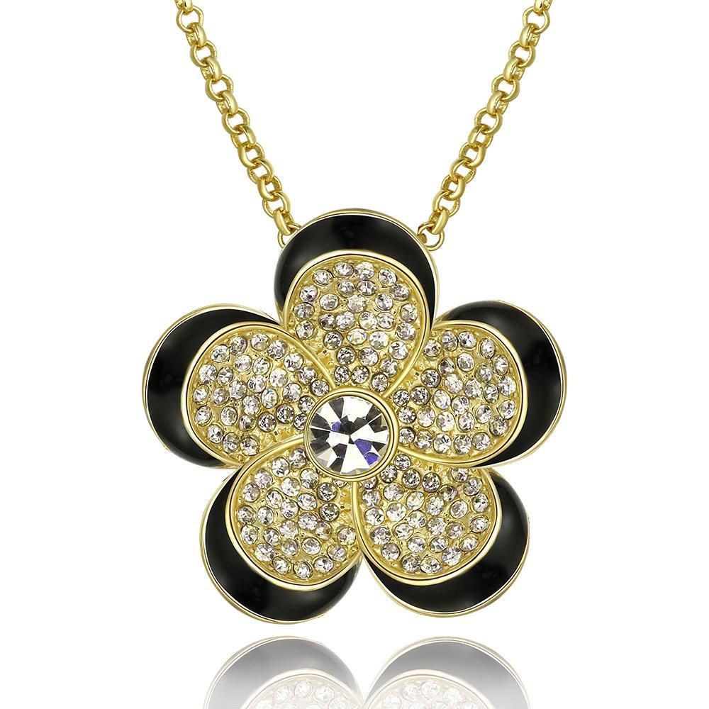 Vienna Jewelry Gold Plated Spiral Floral Necklace