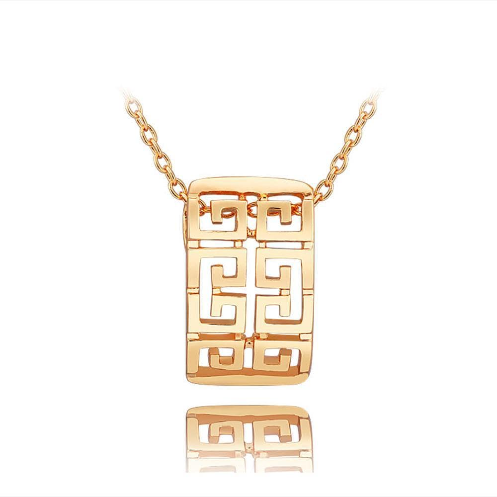 Vienna Jewelry Gold Laser Cut Emblem Necklace