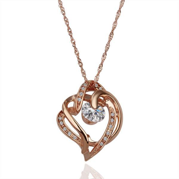 Vienna Jewelry Rose Gold Plated Curved Heart Lining Necklace