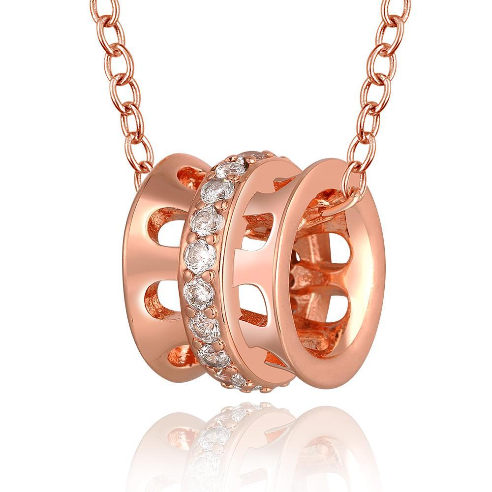 Vienna Jewelry Rose Gold Plated Laser Cut Rolling Pin Necklace