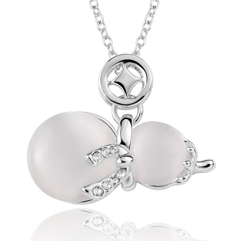 Vienna Jewelry White Gold Plated Duo-Ivory Pearl Necklace
