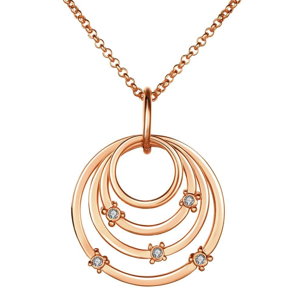 Vienna Jewelry Rose Gold Plated Trio-Sprial Emblem Necklace