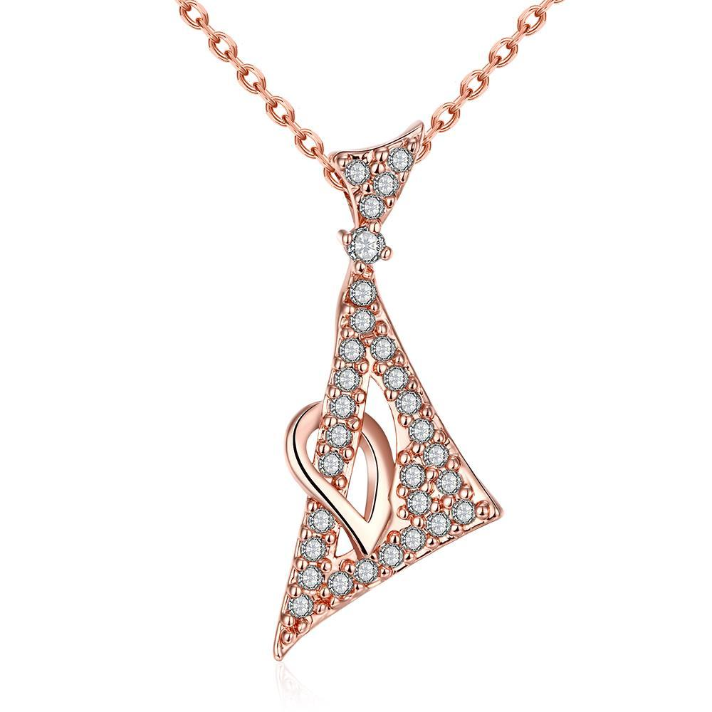 Vienna Jewelry Rose Gold Plated Pyramid Emblem Necklace