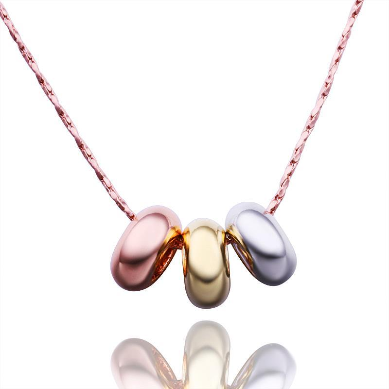 Vienna Jewelry Rose Gold Plated Trio-Color Necklace