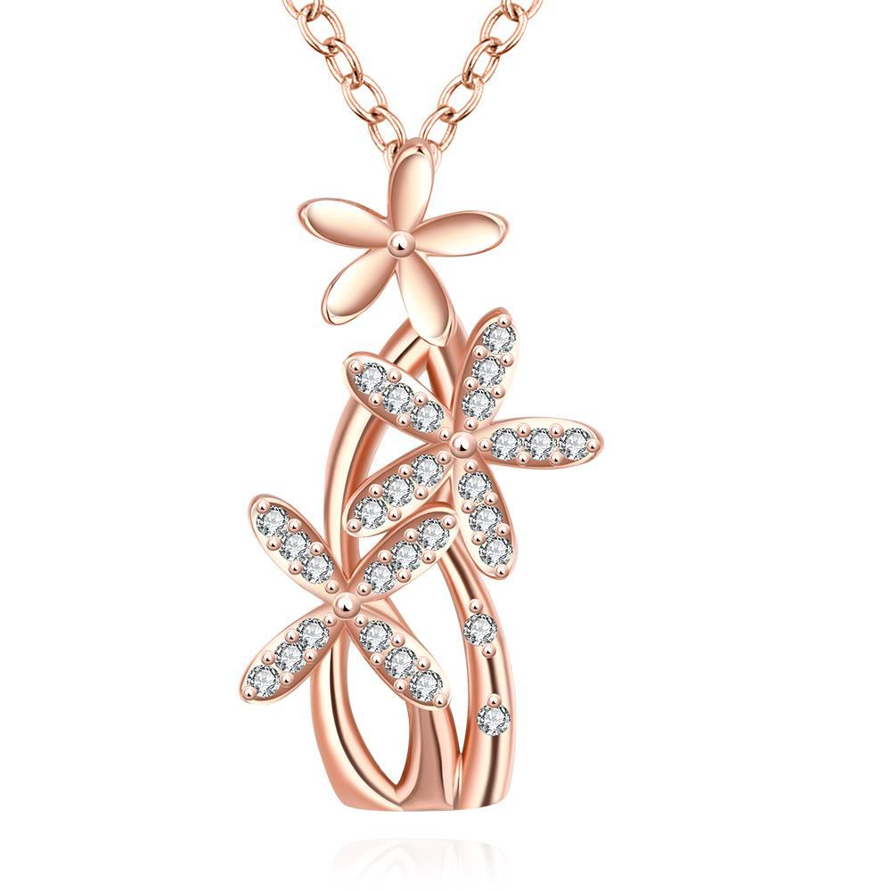 Vienna Jewelry Rose Gold Plated Grape Vine Necklace