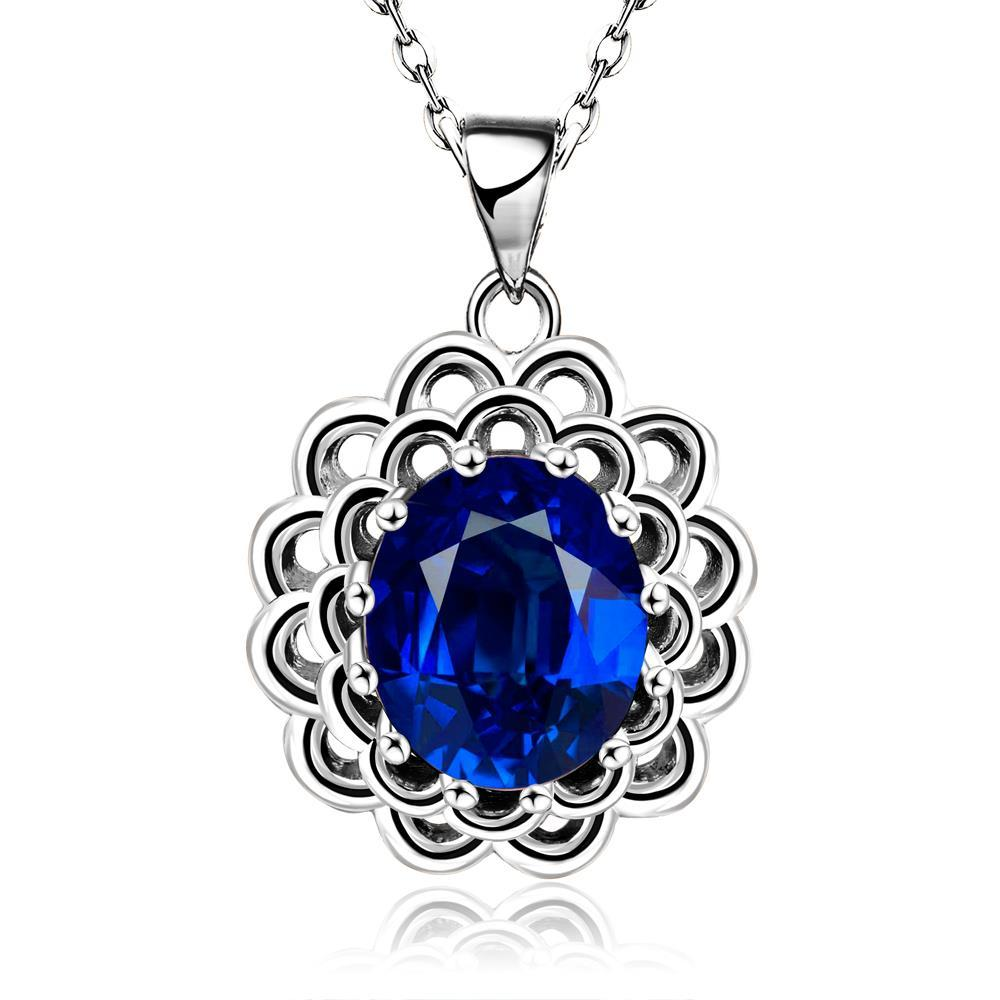 Vienna Jewelry White Gold Plated Sapphire Gem Spiral Laser Cut Necklace
